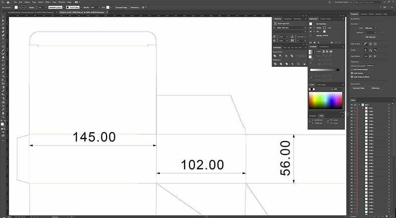 Professional Editing Monitor Screen Showing Package Design in Process