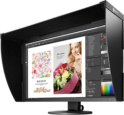 Professional Editing Monitor Showing Package Design in Process