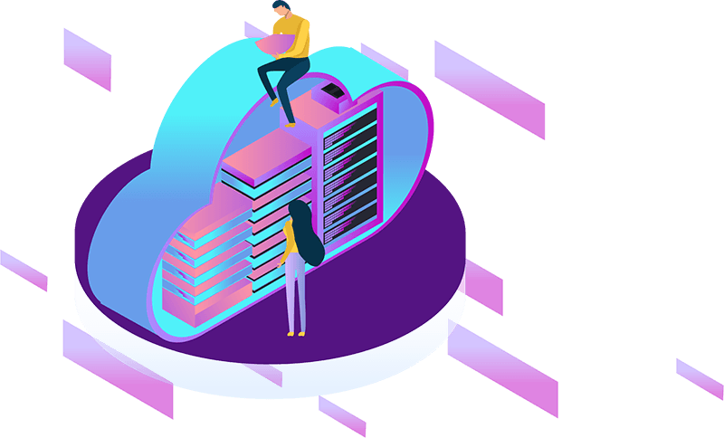 Vector Graphic Showing Hosting People Working At Data Centre