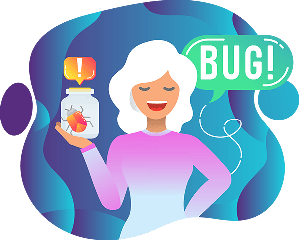 Lady Holding a Bug in the Jar Refer to Web Design Testing